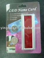 LED RED color Name Card LED Badge, LED Message Badge, LED Name tag