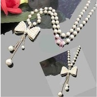 Free shipping necklace chain Delicate pearl necklace sweater chain 43g