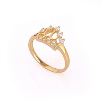 LADIES' CROWN STYLE 24K REAL GOLD PLATED 0.65 CT PRINCESS CUT GRADE AAA CUBIC ZIRCON DIAMOND ENGAGEMENT RING (00105-15)