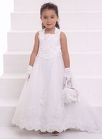 PF003 elegant sleeveless organza  children dress flower girl dress online free shipping