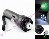 laser pointer/200MW green laser pointer with LED Flashlight+full star pattern style+light up the matches,free shipping!