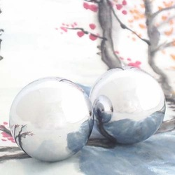 Polished baoding iron ball,50mm chime health ball chrome.Simple design for daily use.Red paper box.Optional solid one available.(China (Mainland))