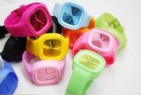 New 10 pcs/lot wholesale ODM Jelly Silicone Sports Style Wrist Watch free shipping