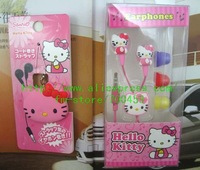 Free Shipping + 50 pcs Hello Kitty Cartoon fashion headset, 50 pcs cartoon style headphones winding A2