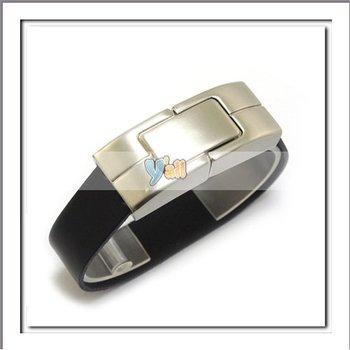 Free Shipping+5pcs/lot 4GB Black Bracelet Leather USB 2.0 Flash Drive-C00278