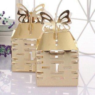 GAGA ! Free shipping  250pcs/lot folding box hollow out wedding box gift packaging gift box 80161-gold