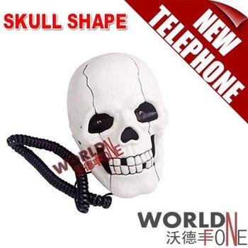 FREE SHIPPING!!! 10PCS/LOT NOVELTY HEAD SKULL SHAPE CORDED TELEPHONE DESKTOP HOME PHONE