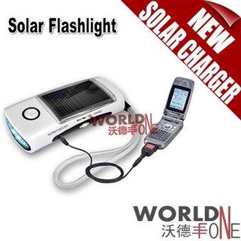 Wholesale - FREE SHIPPING!!! Solar Mobile Charger LED Solar Flashlight with FM Radio 100pcs (WF-810B) [Worldfone]