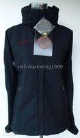 Women hooded Windstopper Soft Shell Jacket BLACK Brand New