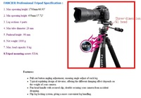 Free shipping new Pro FT-6663A camera Tripod + 3-way head + bag
