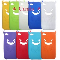 50pcs/lot & Free shipping devil Silicone Skin Cover Case For iPhone 4G