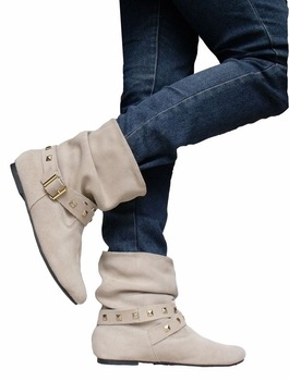 Free shipping lady short boots soft sheep skin leather casual shoes