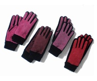 free shipping wholesale  Special value for collection of basic warm wind pigskin leather gloves. Ladies knitted series mouth