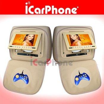 "iCarPhone 7"" headrest car dvd with game/IR, car dvd with headrest pillow, 7"" headrest dvd"