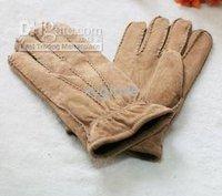 Pig suede Men's real leather gloves winter & warm gloves Genuine