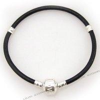 3 Black Leather Bracelet Fit European Beads 19cm 150699