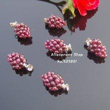 3 pcs WHOLESALE!Natural crystal garnet pendants, jewerly, women's lucky stone,shaped grape(China (Mainland))