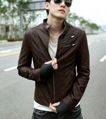 jaqueta de couro homens novos fechos inclinado brown jaquetas casaco outerwear do vestuário tamanho: m l xl(China (Mainland))