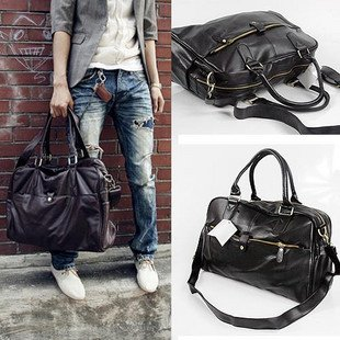 Men's Casual PU leather shoulder handsome Messenger bag / handbag - black, coffee