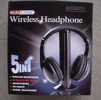 New 5 in1 Hi-Fi Wireless Earphone black wireless headphone [free shipping]