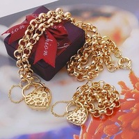 Wholesale price --Filigree Yellow Gold Filled Women's Necklace Bracelet Jewellery Set Free Shipping