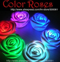 ^ v ^ Freeshipping_50pcs/lotChanging Color Floating Rose Flower LED Candle lights ,pretty decoratio