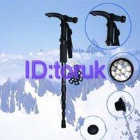 Free Shipping +Wholesale - New Retractable Outdoor Alpenstock Walking Stick Ski pole