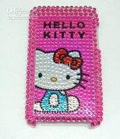 100% Brand New Rose Fashion Bling Hello Kitty Diamond Hard Plastic Rhinestone Case for iPod Touch 2G 3G