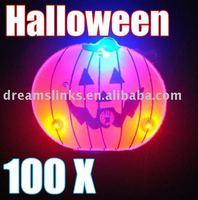 New 100 X Halloween LED Flashing Light Brooch, Halloween Pumpkin & Halloween Gift & Halloween Decoration Free Shipping