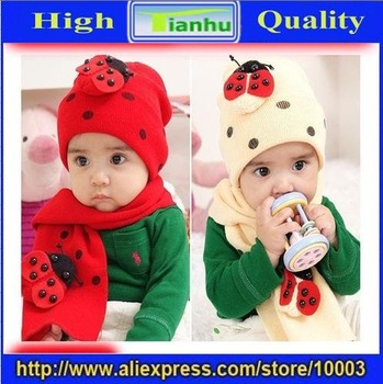 Free Shipping/Children hat,baby bee beatle cap with scarf set,baby hat(10sets/lot)