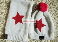 children hats + scarf of set star knitted fashion hat Free shipping