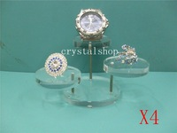 Wholesale Free Shipping 3 Tier  Clear Acrylic Jewelry Display  Riser Stand Showcase Holder