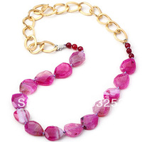 Fashion Necklace 2014 Hot Pink Agate Gem Stone Chain Necklace for Women