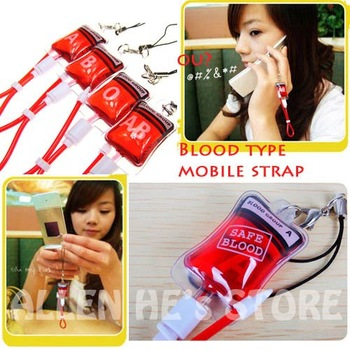 Novel, Blood transfusion bags mobile phone strap / mobile phone chain +free shipping