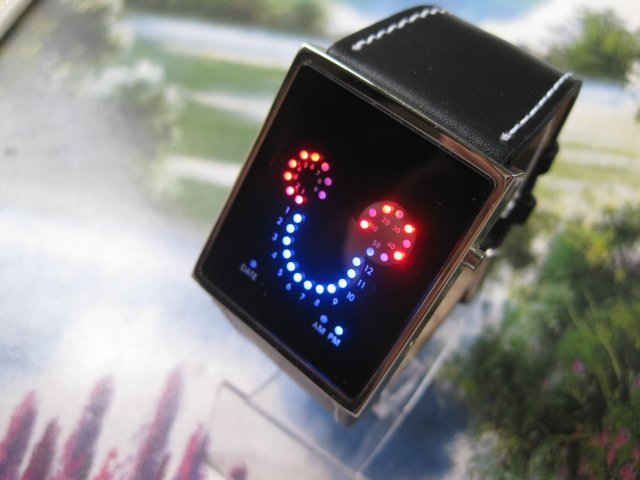 Mickey Shine Black LED Light Digital Date fashion leather band Wrist Watch and digital freeshipping sample(China (Mainland))