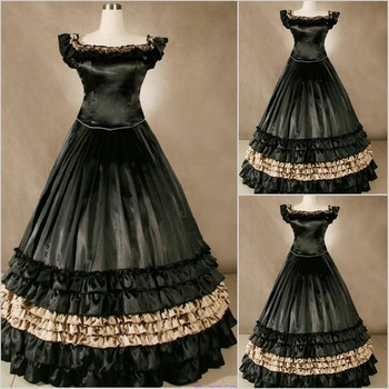 Freeship Satin Renaissance Victorian Gothic/Marie Antoinette/civil war/Southern Belle Ball Gown Dress US 6-26 XS-6XL V-48