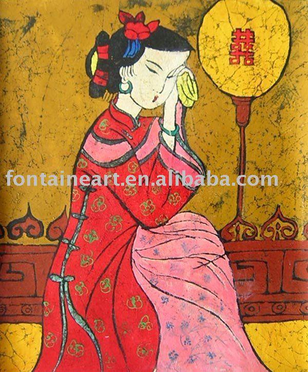 Oriental pintura a óleo mulher(Hong Kong)
