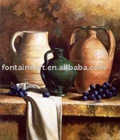 handmade oriental clássica ainda pintura a óleo-Olaria vida em cima da mesa(Hong Kong)