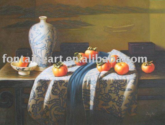 Handmade oriental ainda pintura a óleo-cerâmica vida e batatas(Hong Kong)