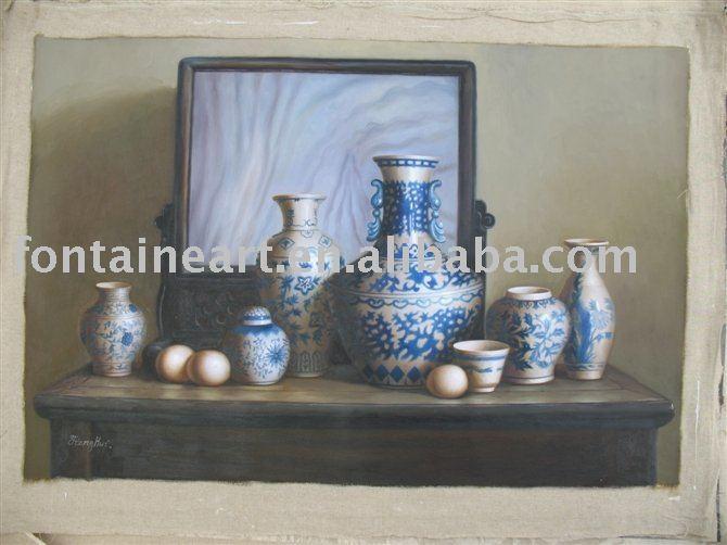 Handmade oriental pintura a óleo vida ainda potteries sobre a(Hong Kong)