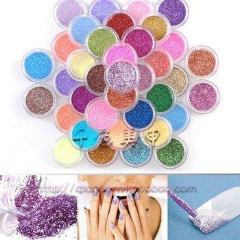 FreeShipping  High Quailty Shine Glitter Powder Nail Art 45 colors Fine Glitter Dust Set 045