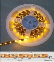 5m 3528 SMD led flexible led stirp,30leds/m,waterproof,IP65(silicon coating), yellow PCB,DC12V input,color optional
