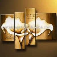handmadd no frame Modern group flower Oil painting,Calla Lily (4 panels),browned textured
