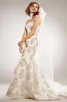 sh113 accept  , 2010 new collection champagne lace  beaded sleeve-less floor-length custom-made design wedding dress