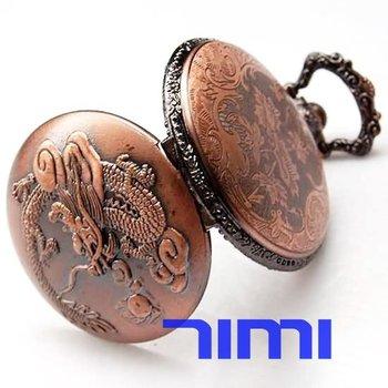 wholesale Mens Vintage Pocket Watch Chain Fob Dragon Quartz freeship