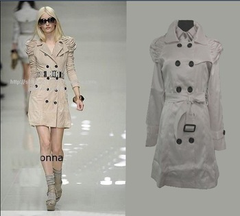 2010 latest women's windbreaker. Polyester + Acrylic. Fold turndown collar style women's Windproof coat. free shipping.