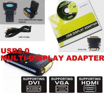 USB 2.0 to DVI/VGA/HDMI Multi Display Graphics Adapter Converter