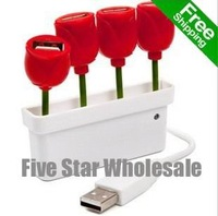 Accept Credit Card/Free Shipping/Wholesale Brand New USB 2.0 4Port usb HUB Tulip Rose Shape