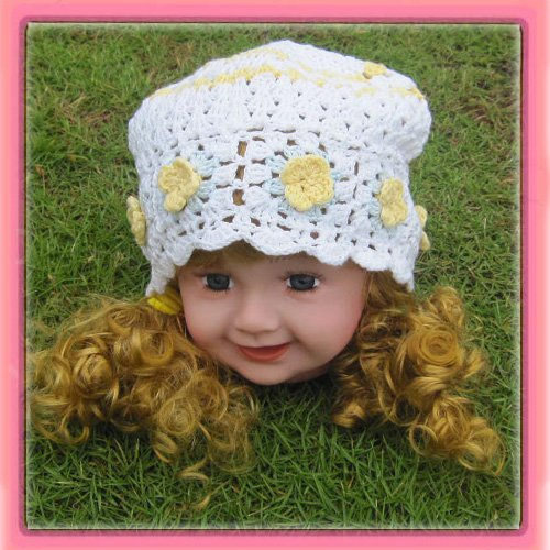 Free Shipping! New 8'' crochet beanies with flowers knit waffle beanies can mix order suit for girl(China (Mainland))