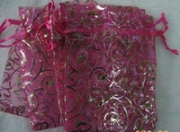 "300pcs Eyelash Fuchsia Wedding Organza Pouch Gift Bag 3x3.5""+ Gift & Free Shipping"
